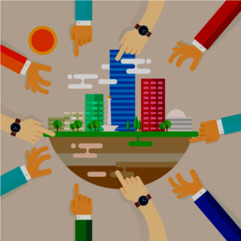 illustration of hand and arms reaching toward city buldings