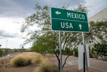 USA Mexico Border Sign
