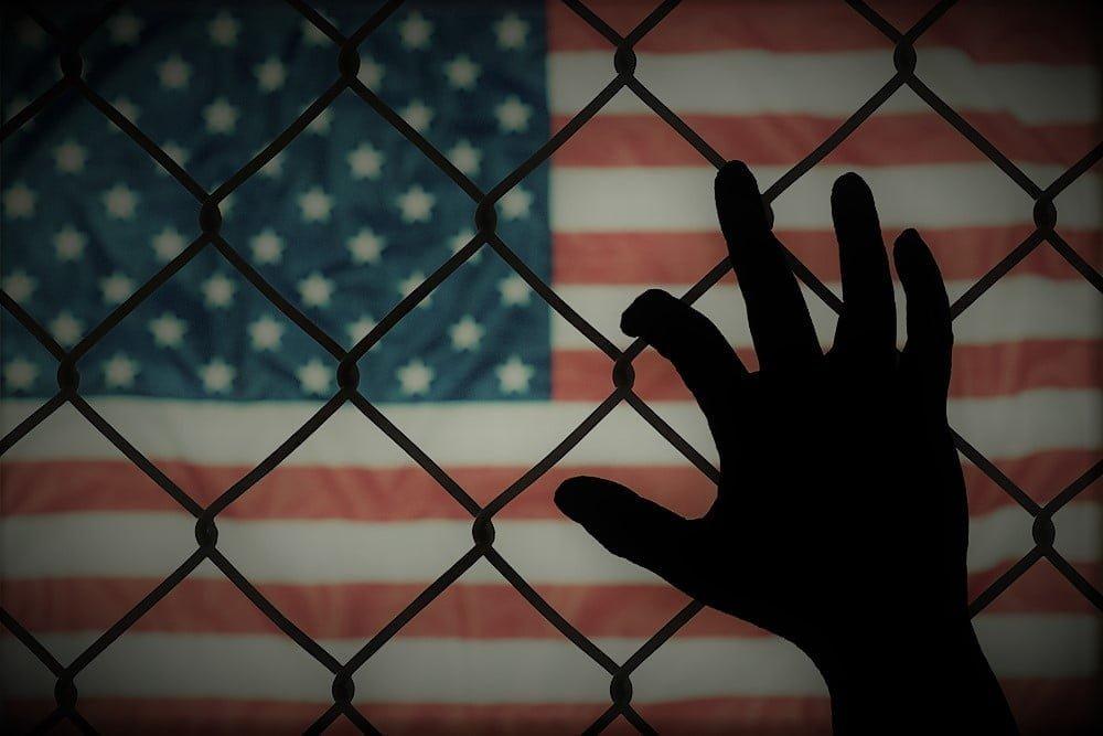 immigration flag hand dark version
