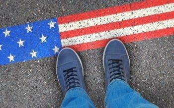 american flag border block