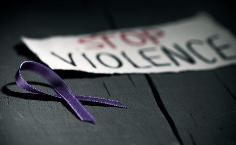 purple ribbon stop violence