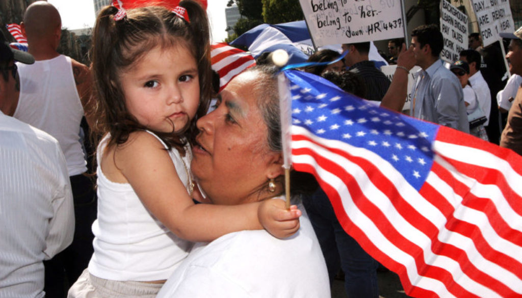 little girl immigration flag