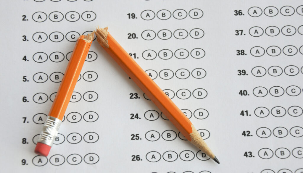 standardized test broken pencil