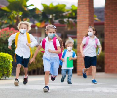 kids wearing masks at school